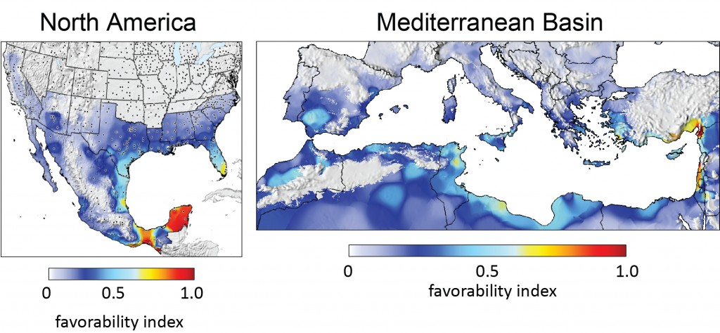 Maps depicting areas of new world screwworm average geographic distribution in North America and the perspective distribution in the Mediterranean Basin